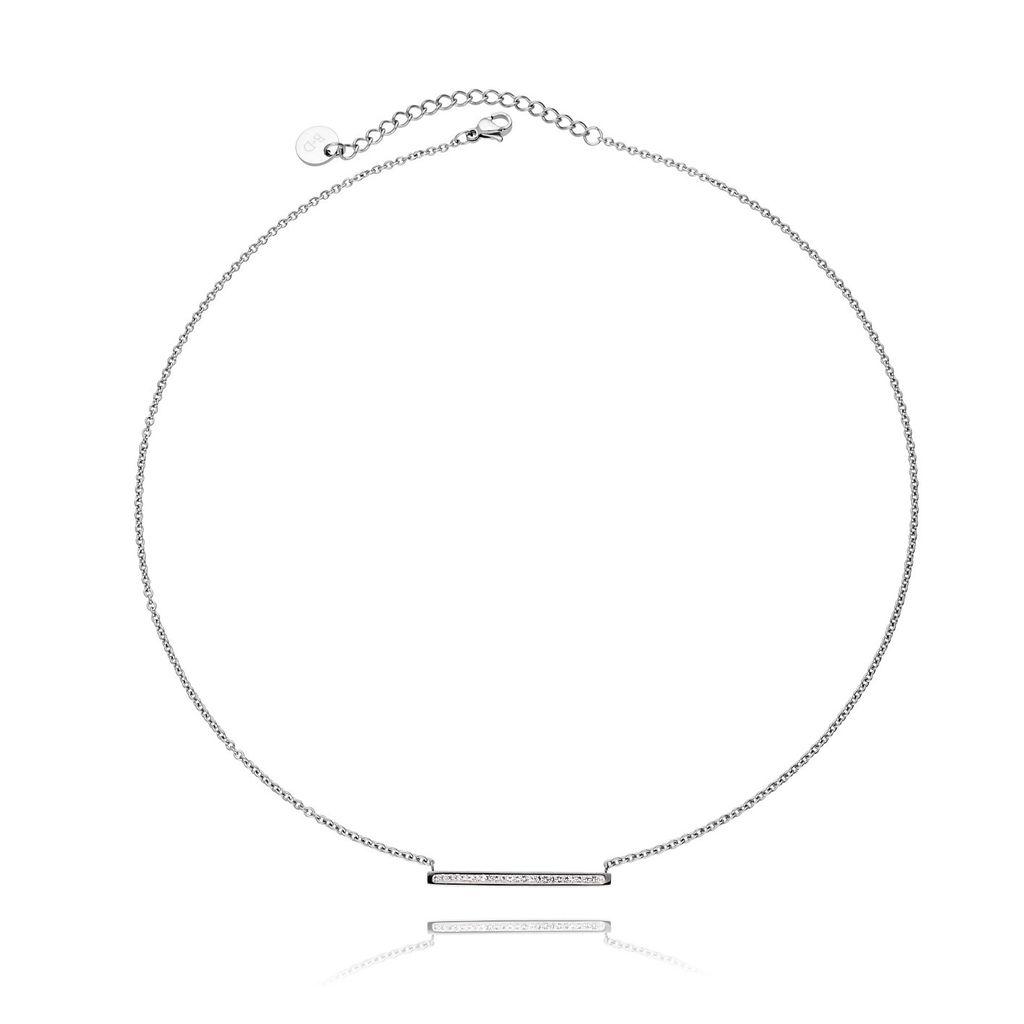 Naszyjnik srebrny ze stali szlachetnej z cyrkoniami NSA0013