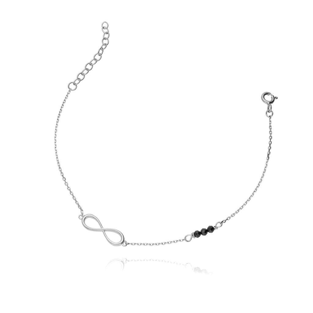 Bransoletka ze srebra kryształki nieskończoność BSE0004