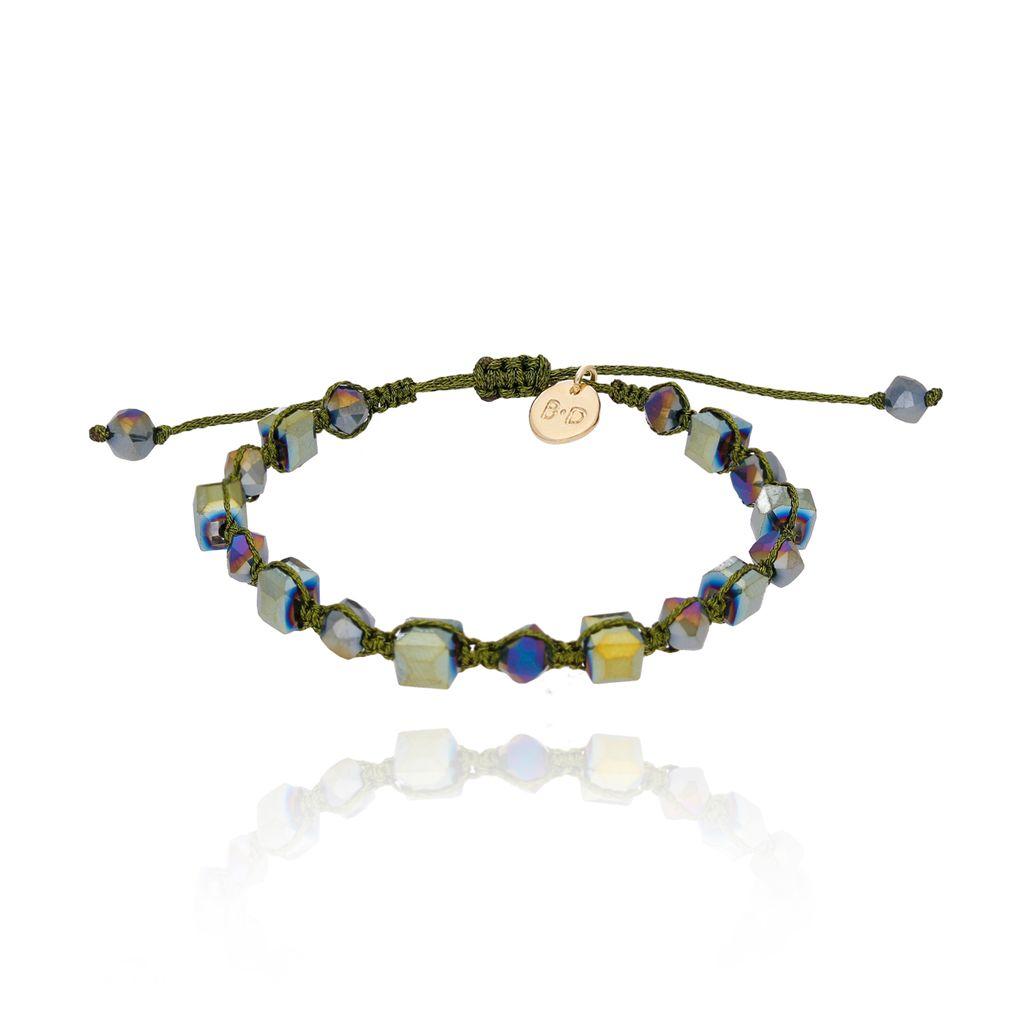 Bransoletka pleciona z zielonymi kryształkami BBL0074