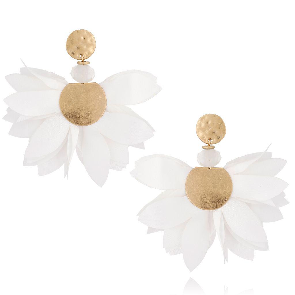 Kolczyki satynowe kwiaty białe KBL0494