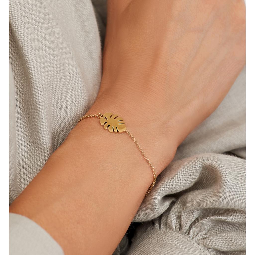 Bransoletka złota ze stali szlachetnej z liściem monstery BSA0132