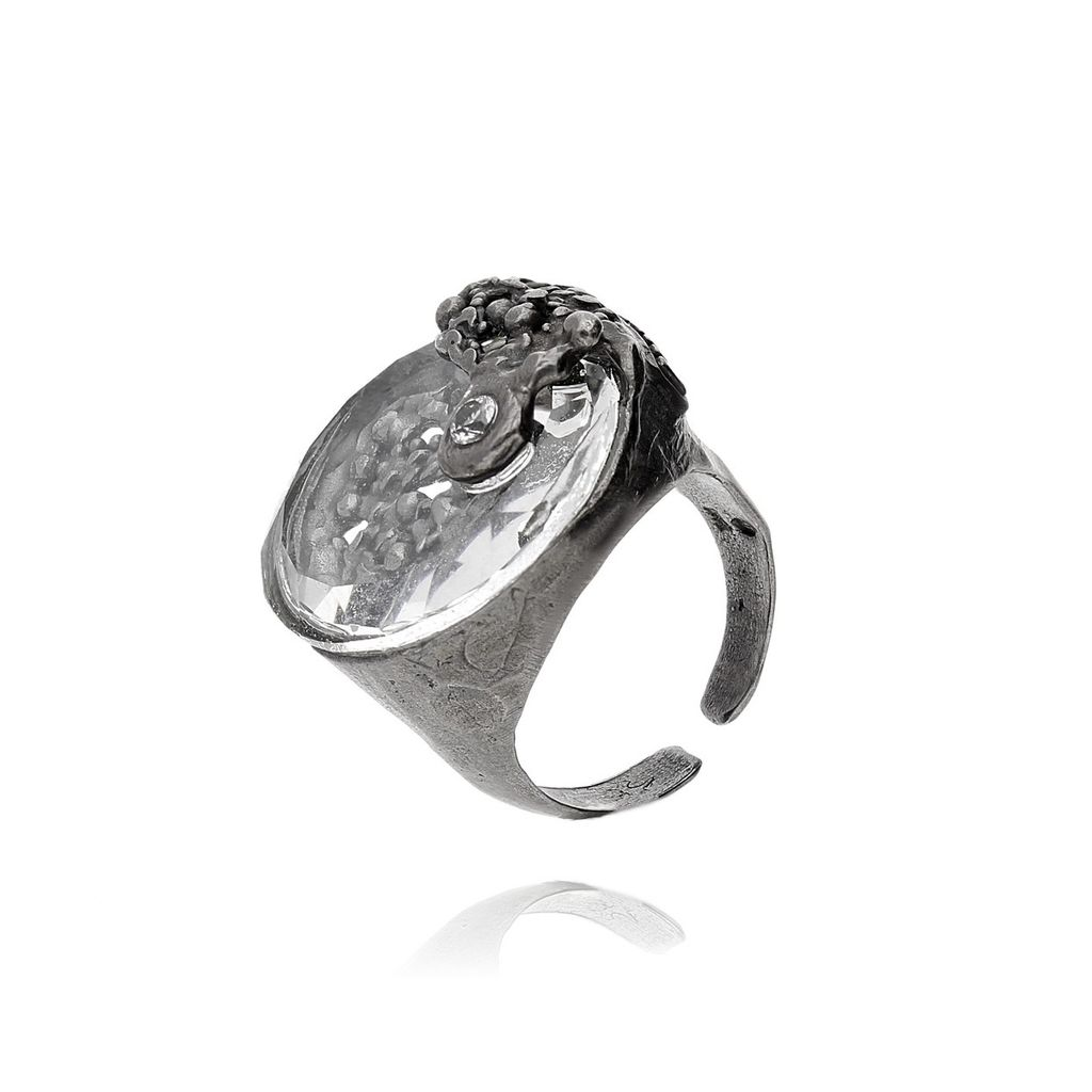 Pierścionek MOTYLE  Cosmic Love z transparentnym kryształem PMO0047