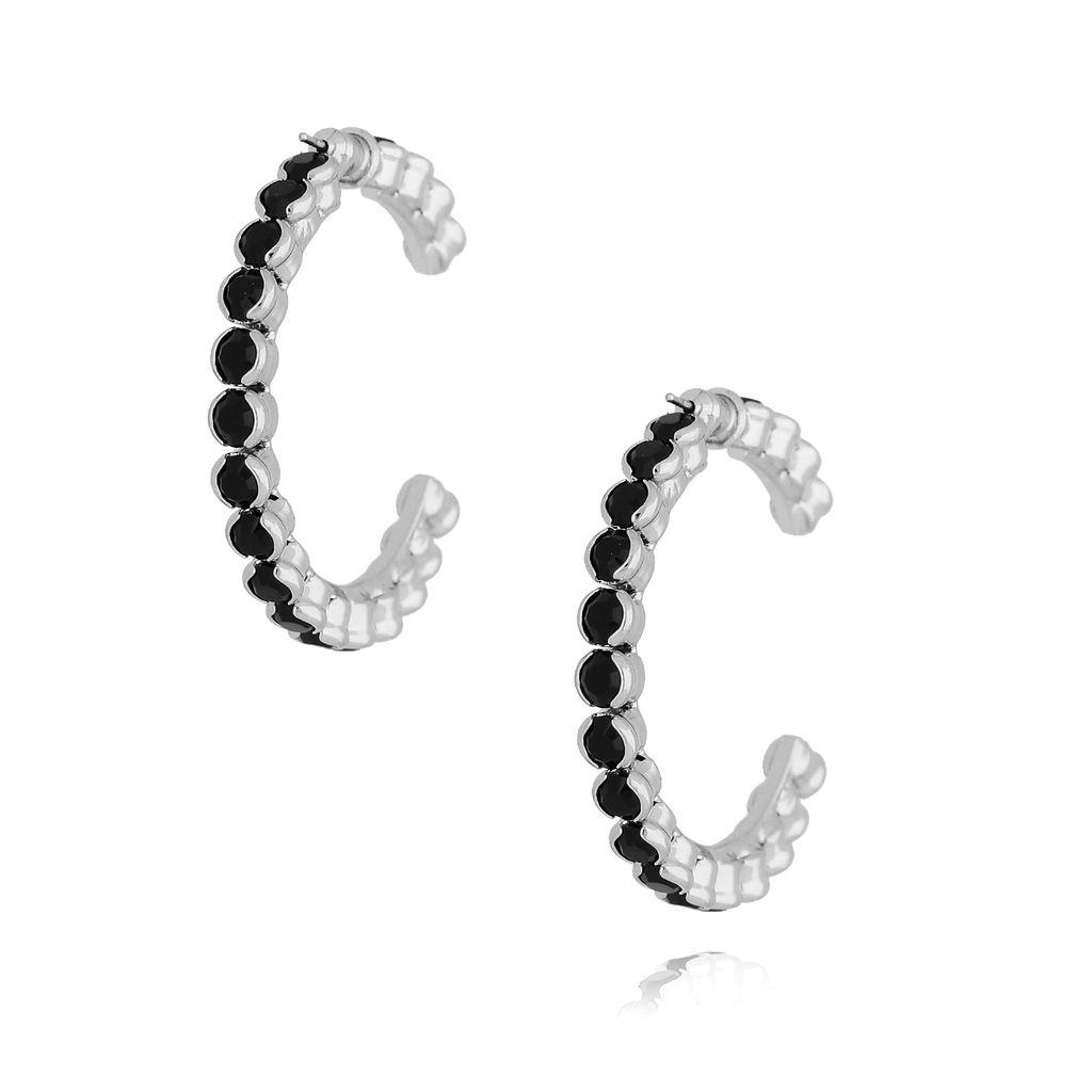 Kolczyki srebrne koła z kryształkami KRG0583