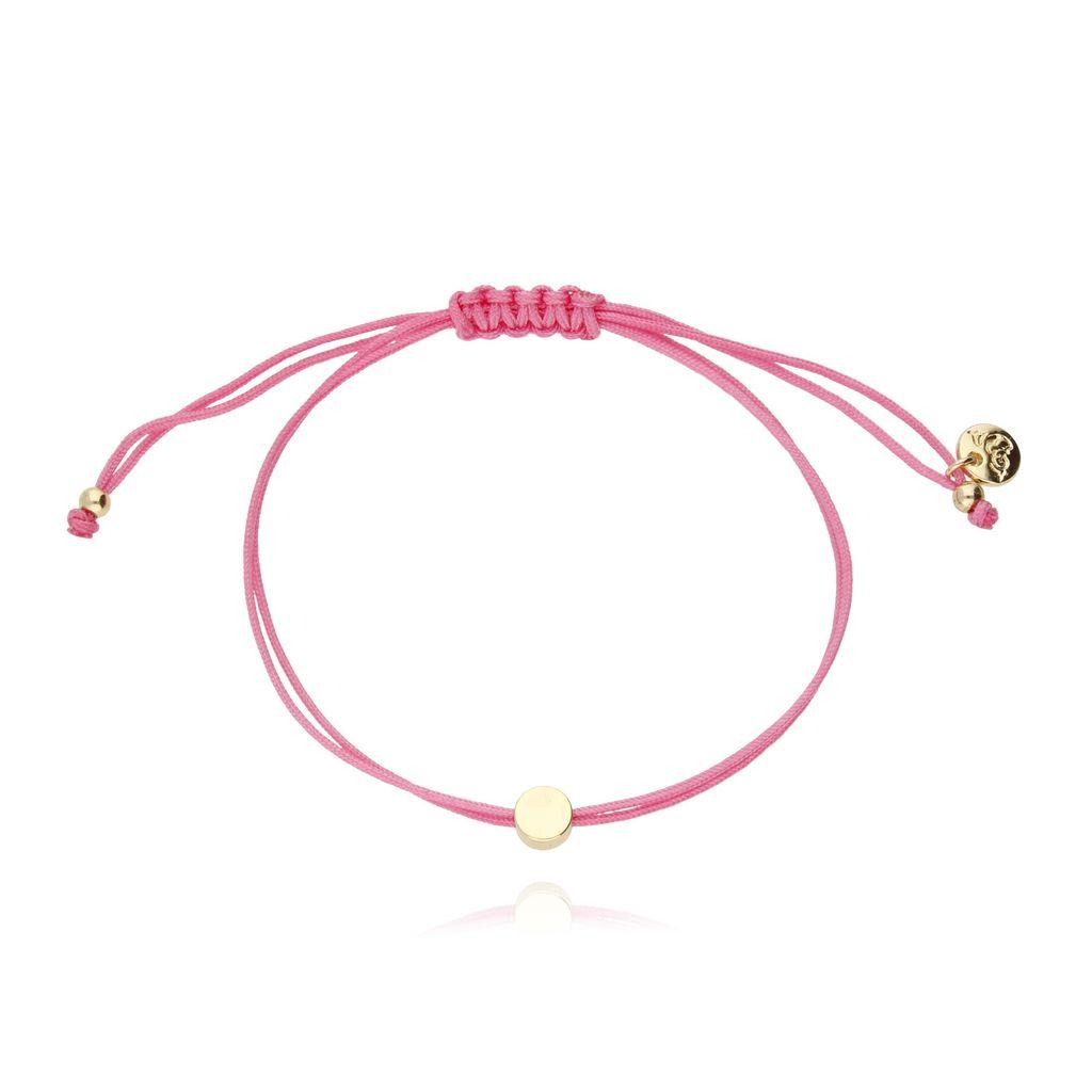 Bransoletka na sznurku różowa - kółko BGL0136