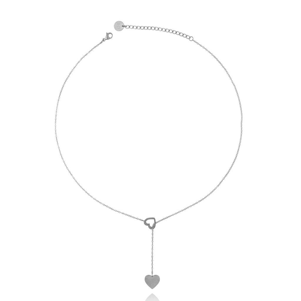 Naszyjnik srebrny z sercami ze stali szlachetnej NSA0106