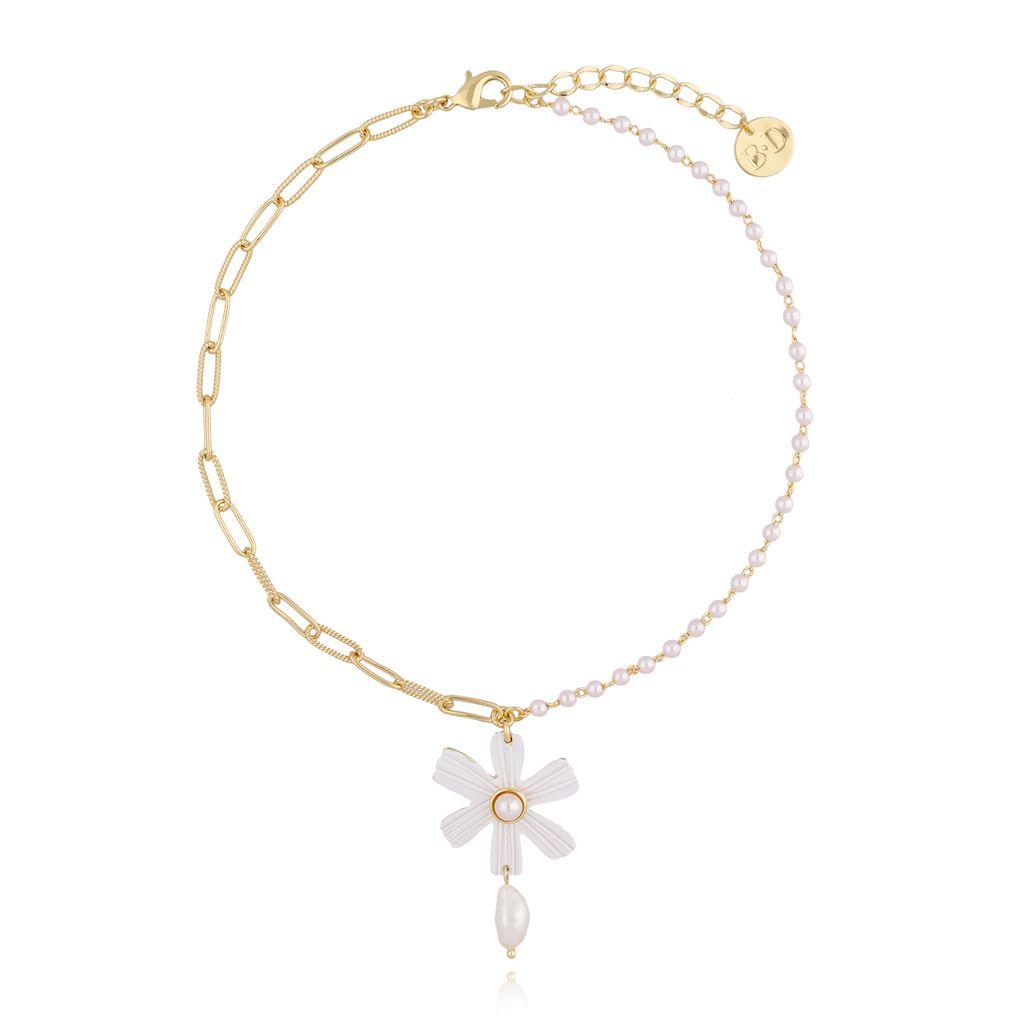 Naszyjnik z kwiatem i łańcuchem NLI0003