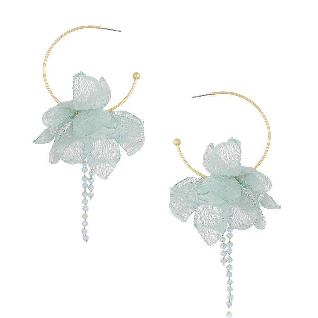 Kolczyki jedwabne kwiaty błękitne KBL0471