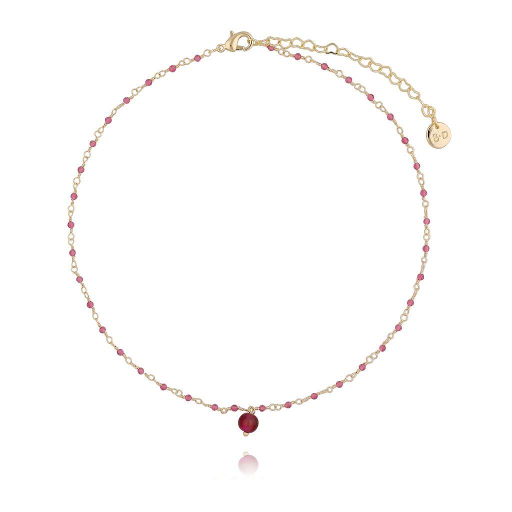 Naszyjnik z kryształkami i fuksjowym tygrysim okiem NOA0046