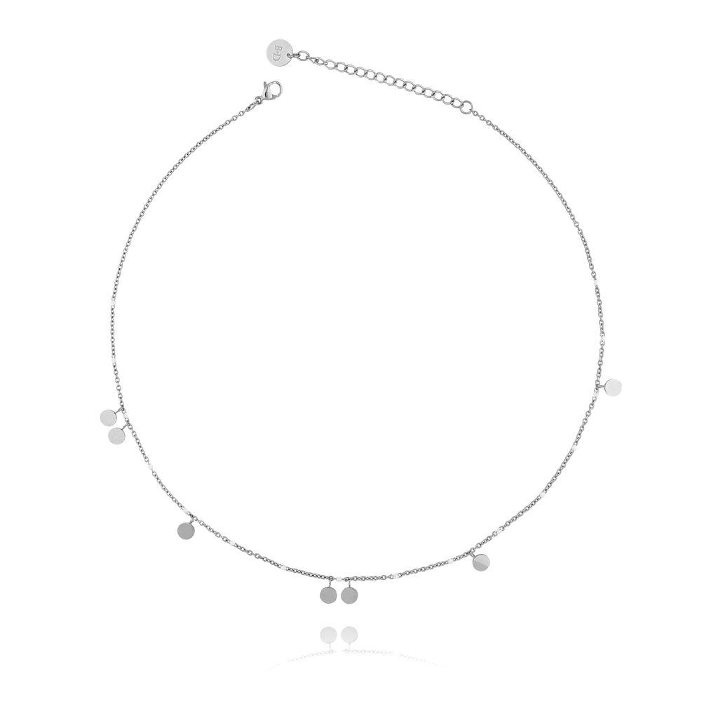 Naszyjnik srebrny z dyskami ze stali szlachetnej NSA0091