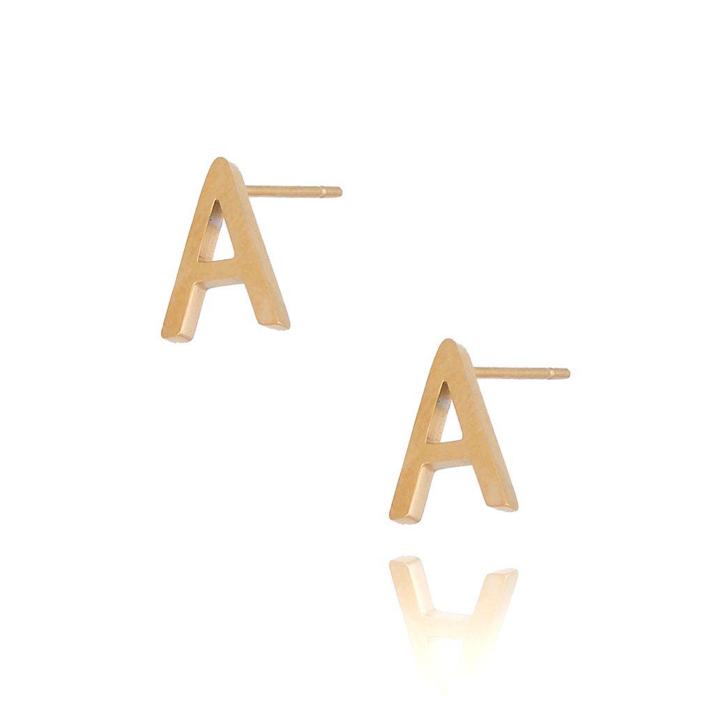 Kolczyki wkrętki złote  z literką  A KAT0058