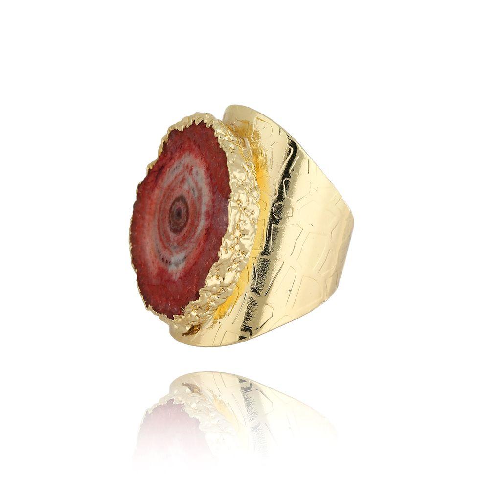 Pierścionek z czerwonym agatem PPA0008