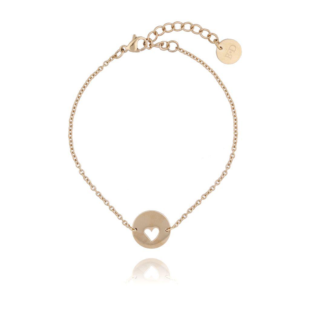 Bransoletka złota z sercem ze stali szlachetnej BSA0071
