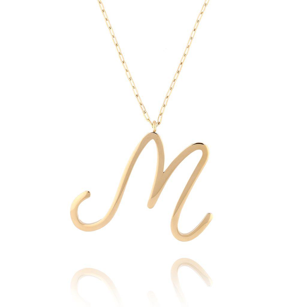 Naszyjnik ze stali szlachetnej złoty literka M Alphabet NAT0026