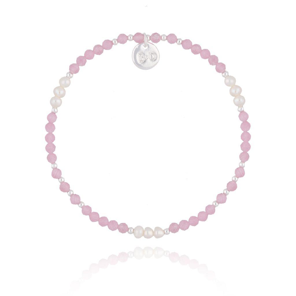 Bransoletka z różowymi jadeitami i perłami BTW0226