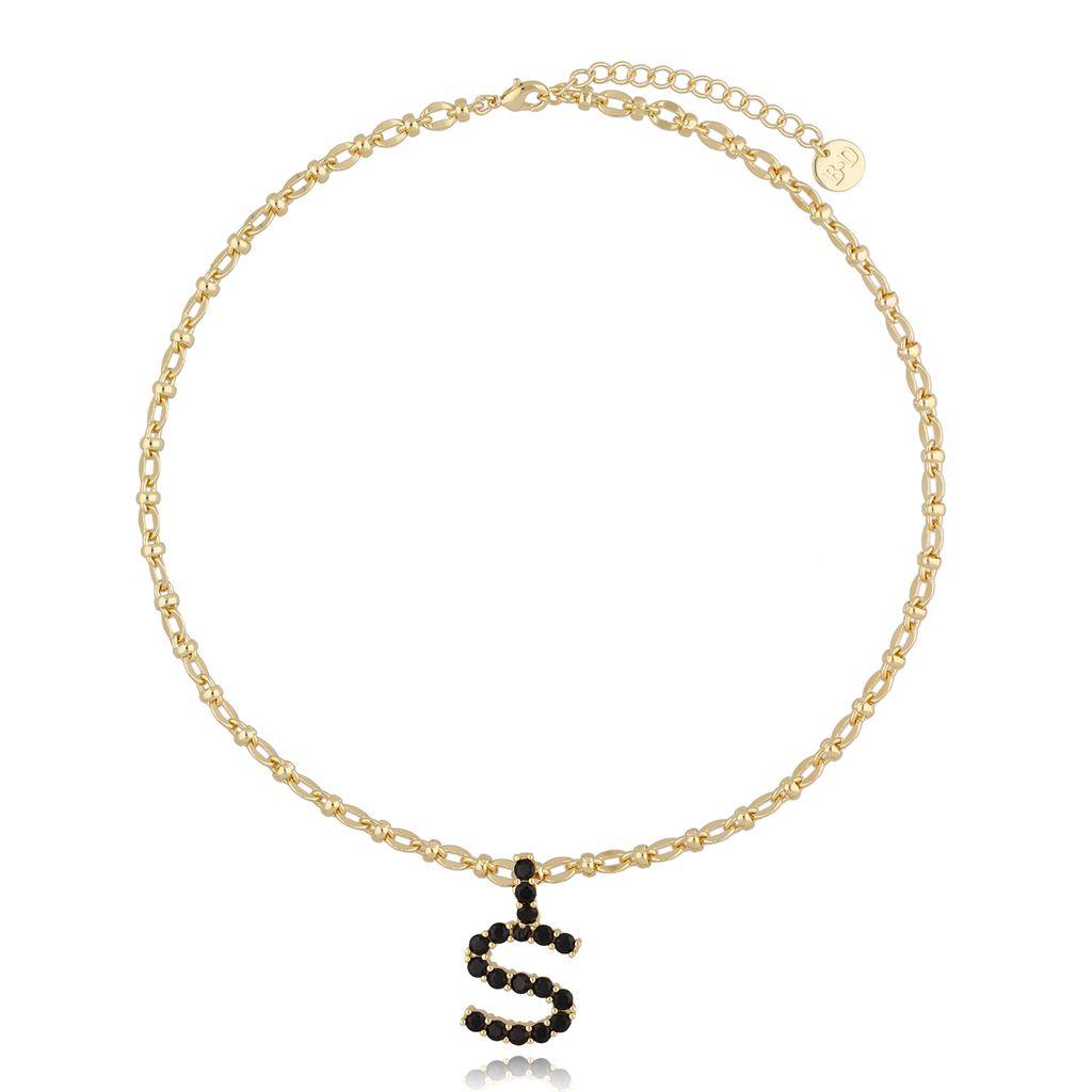 Naszyjnik złoty łańcuch z literą S NRG0230