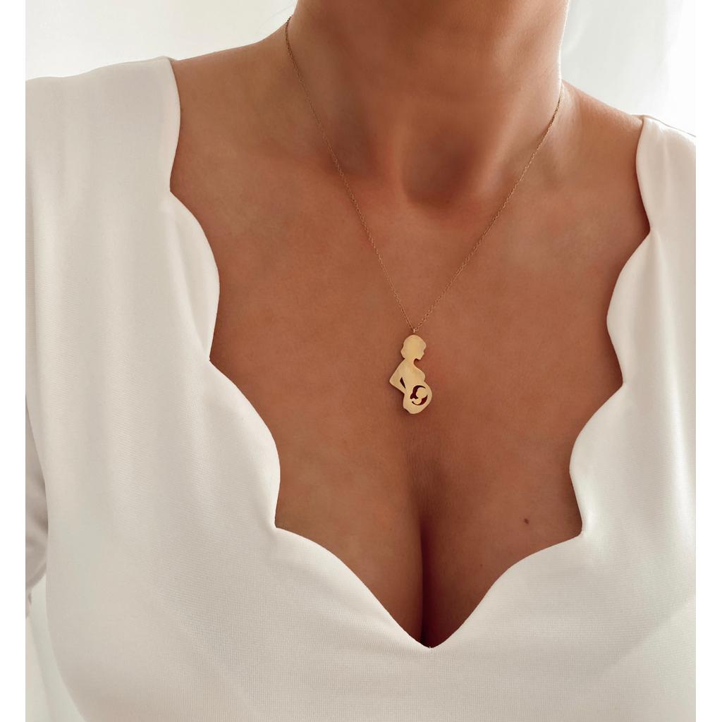 Naszyjnik złoty z kobietą w ciąży NSA0135