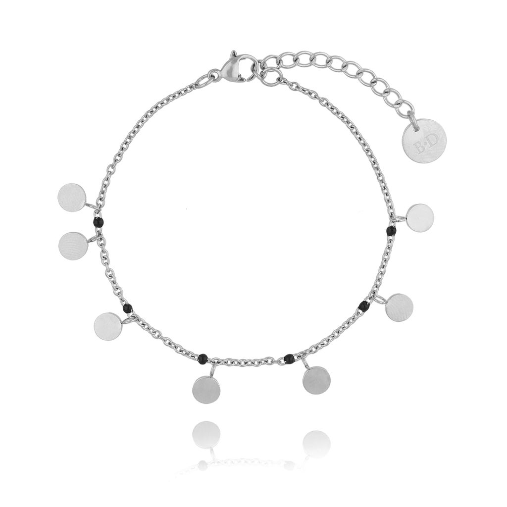 Bransoletka srebrna  z dyskami ze stali szlachetnej BSA0057