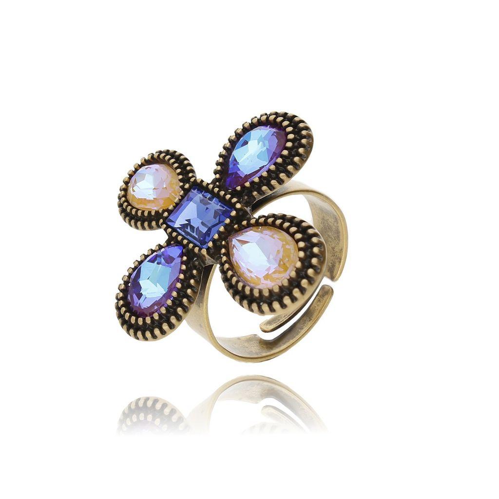 Pierścionek kryształowy kwiat-kolorowy PU0004