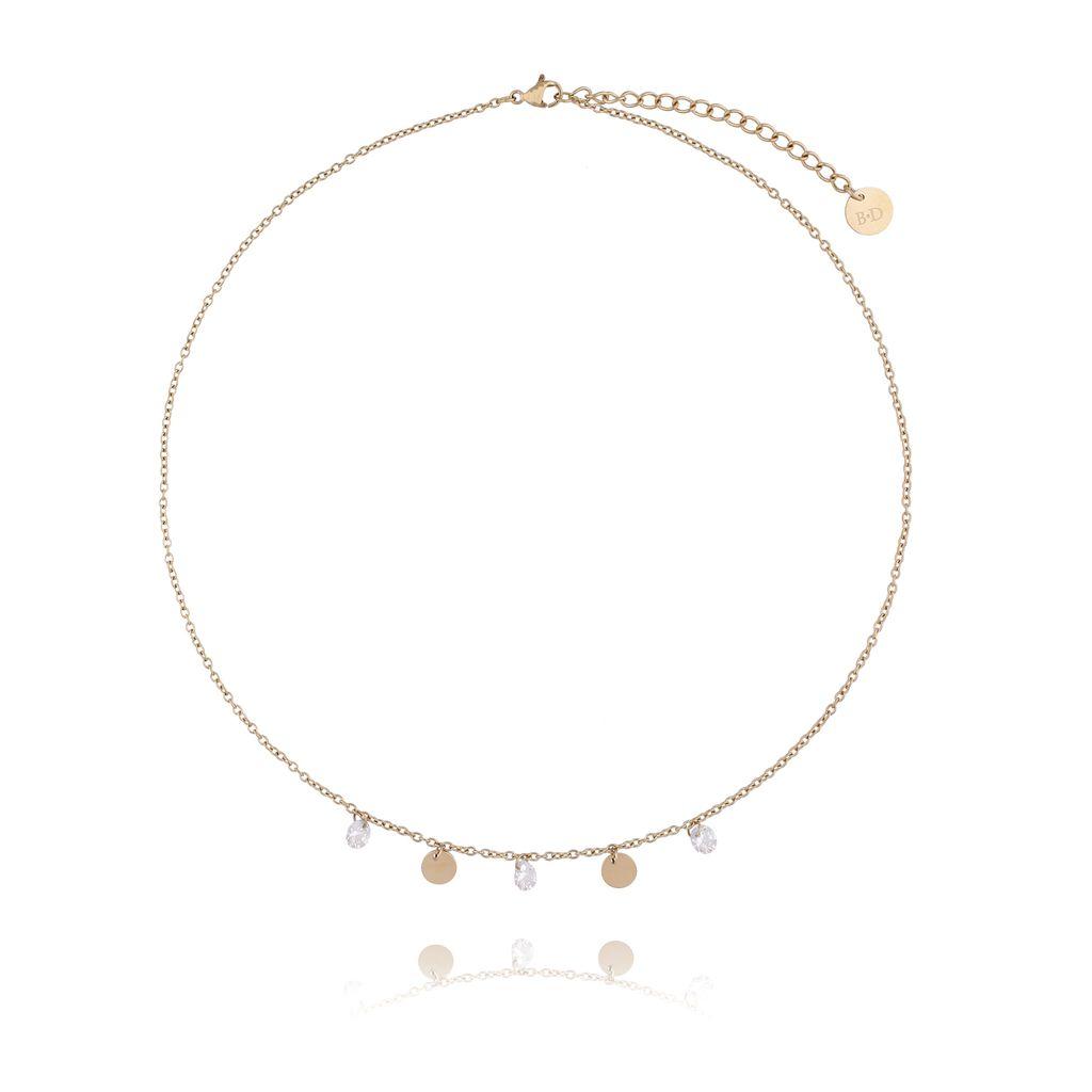 Naszyjnik złoty z kółeczkami i kryształkami ze stali szlachetnej NSA0046