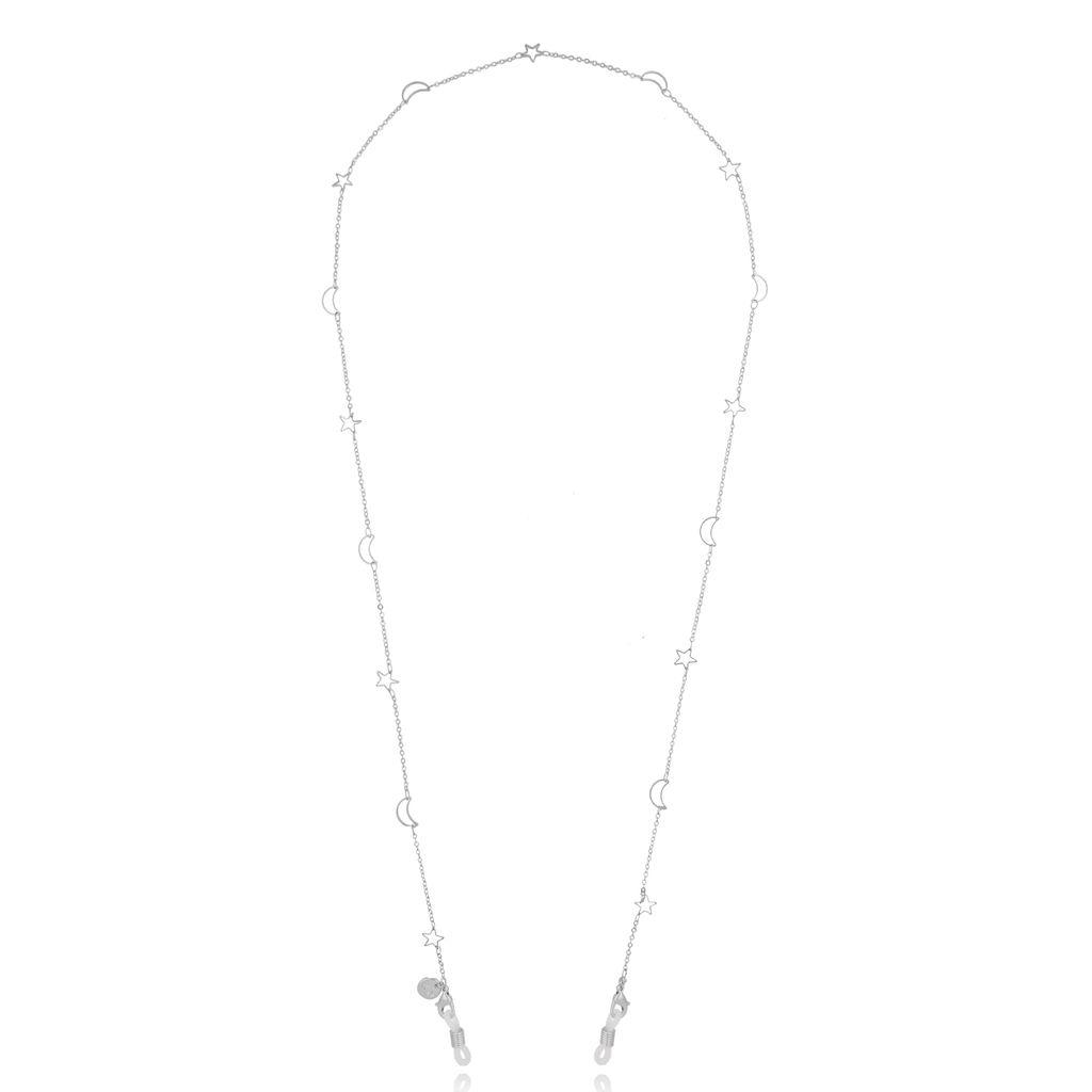Łańcuszek do okularów srebrny z gwiazdkami i księżycami NOA0026