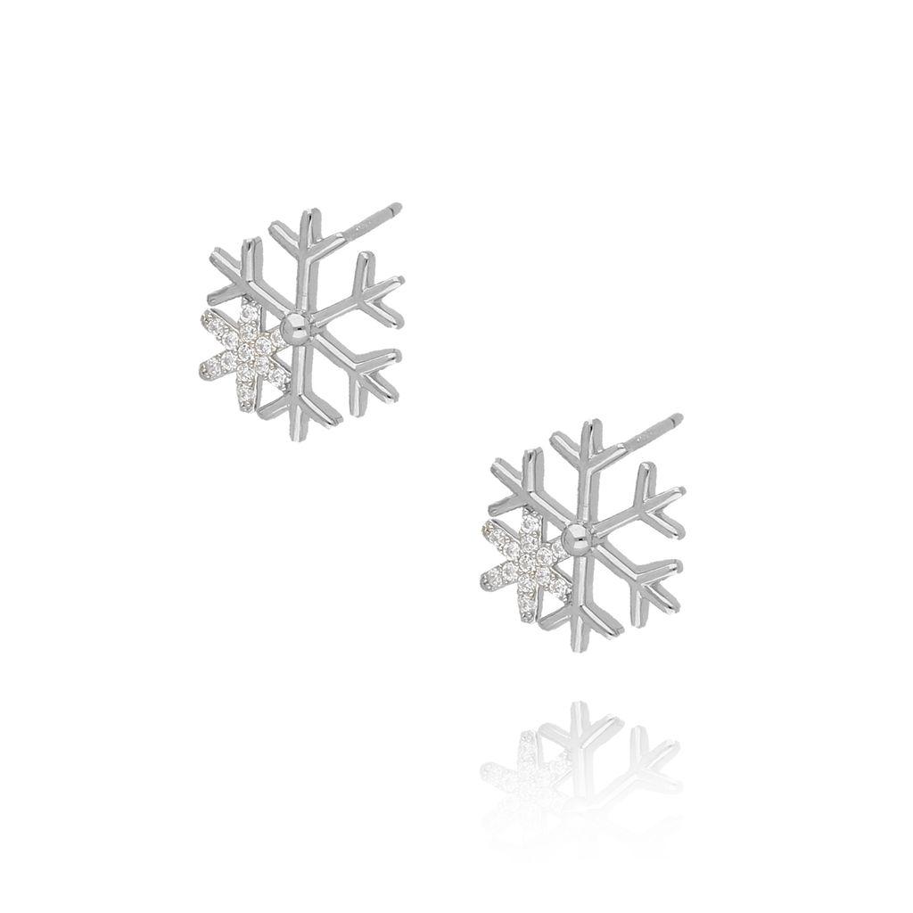 Kolczyki srebrne śnieżynki KGM0067