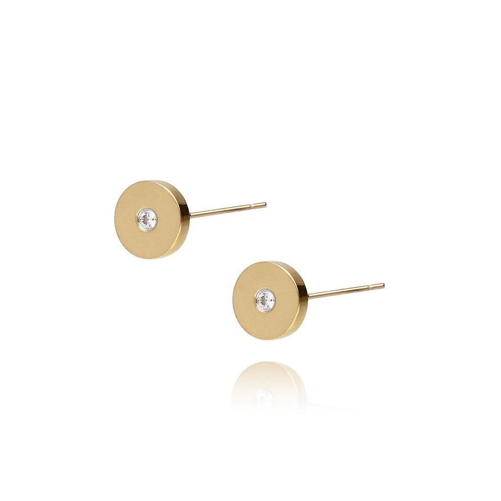 Kolczyki złote kółka z cyrkonią ze stali szlachetnej KSA0026