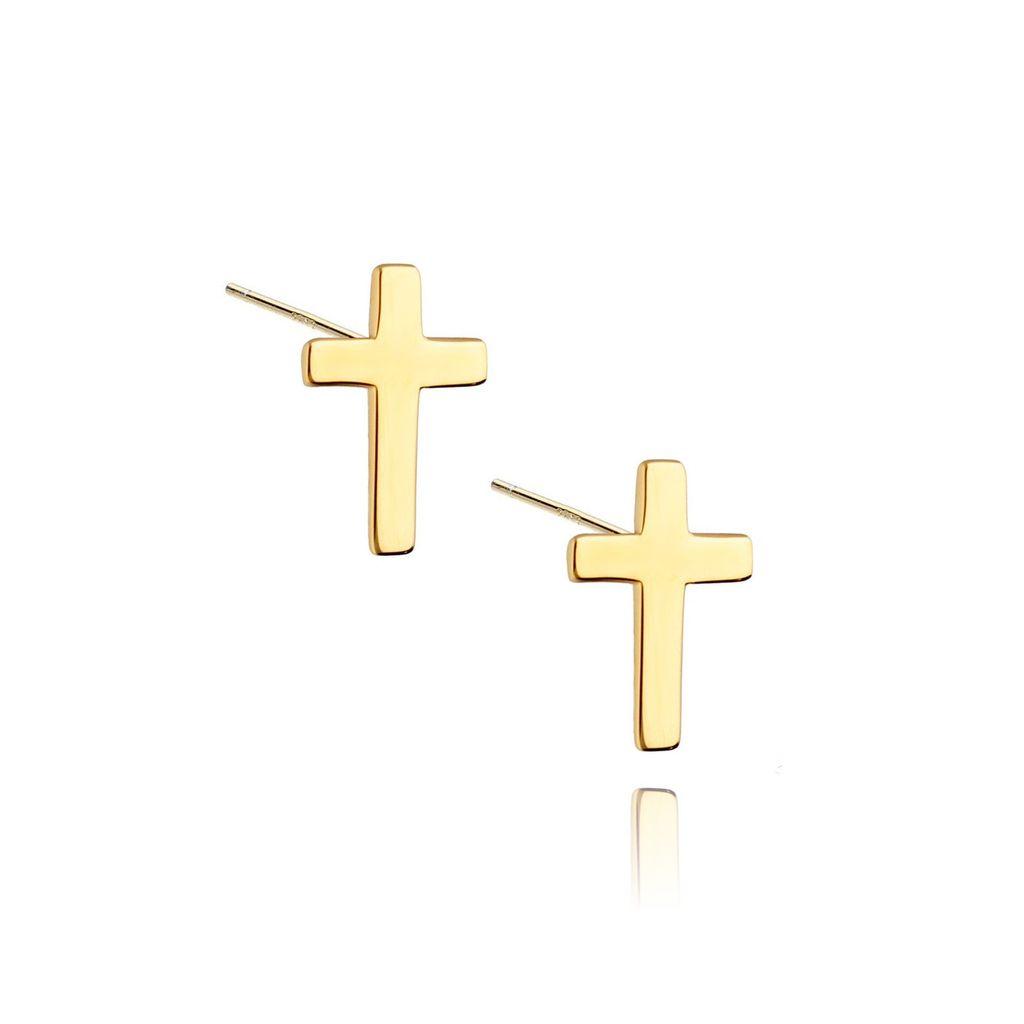 Kolczyki srebrne krzyżyki pozłacane KSE0007 N