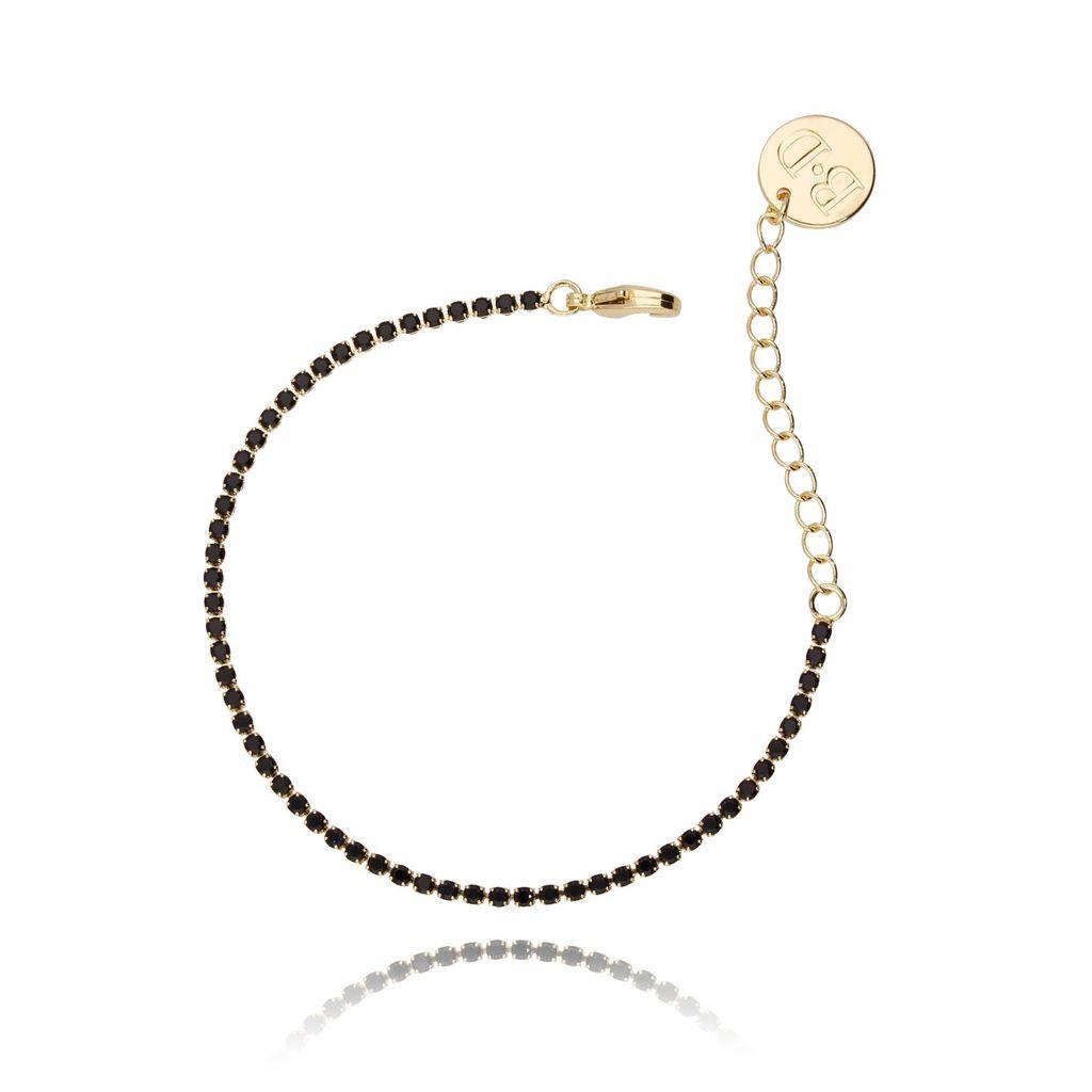 Bransoletka złota z czarnymi cyrkoniami BMU0006