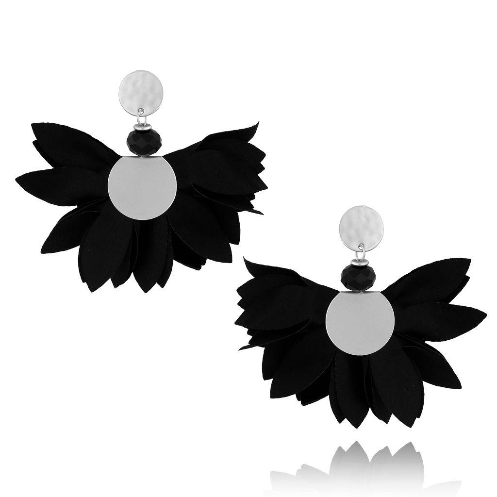 Kolczyki satynowe kwiaty czarne KBL0437