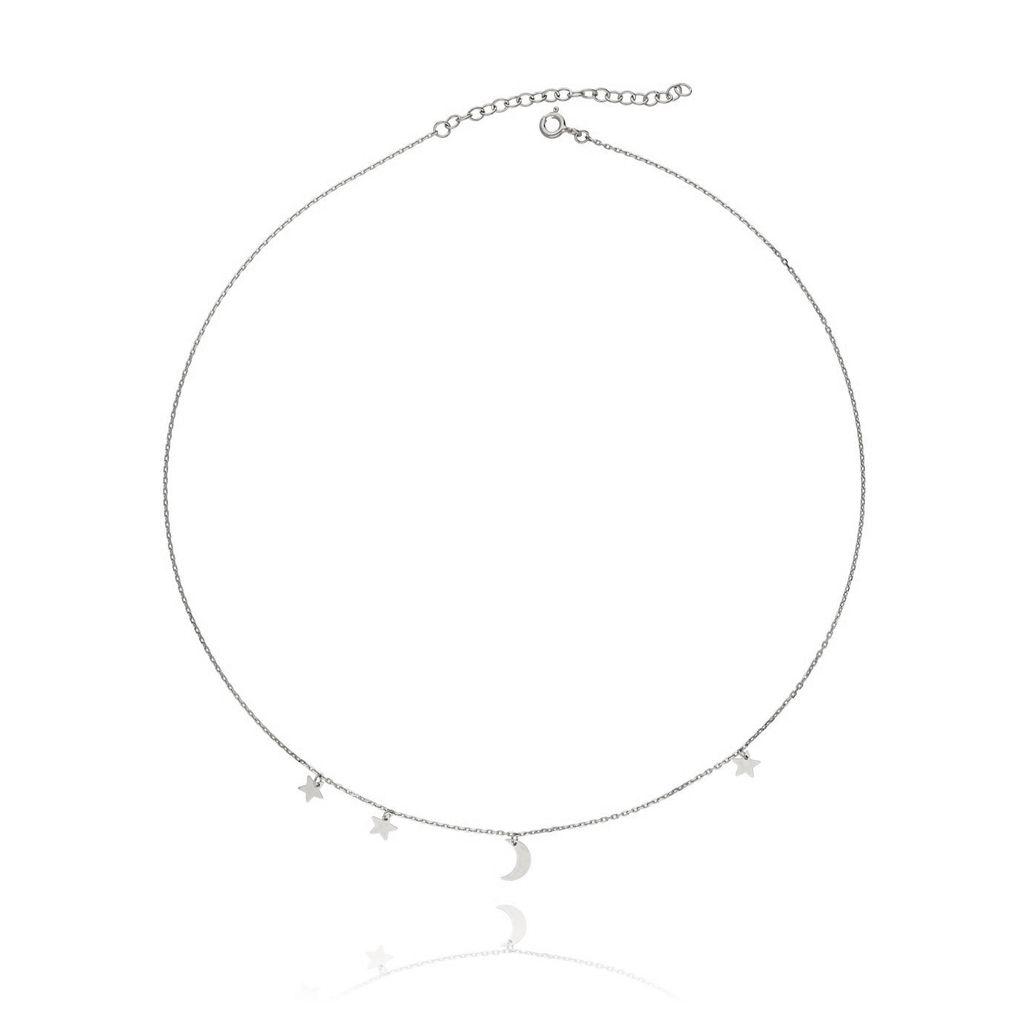 Naszyjnik srebrny z księżycem i gwiazdkami NSE0019