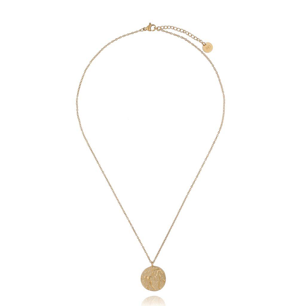 Naszyjnik złoty z medalionem ze stali szlachetnej NSA0108 45 cm