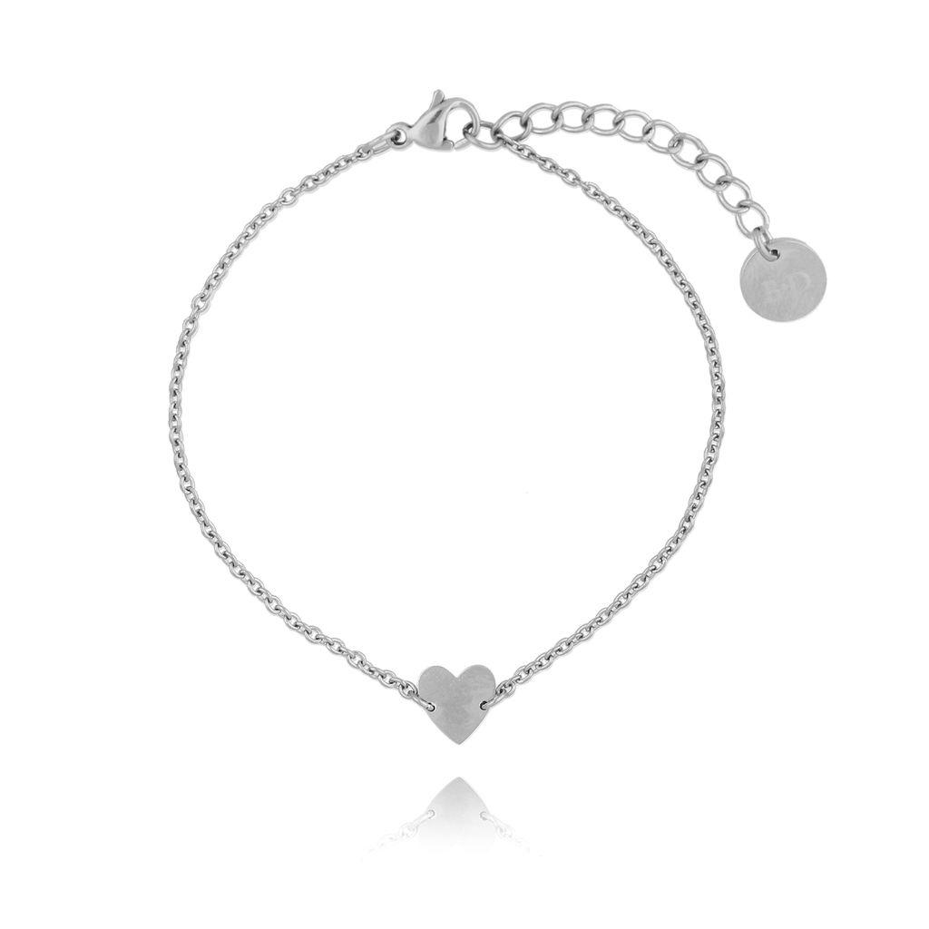 Bransoletka srebrna z sercem ze stali szlachetnej BSA0072