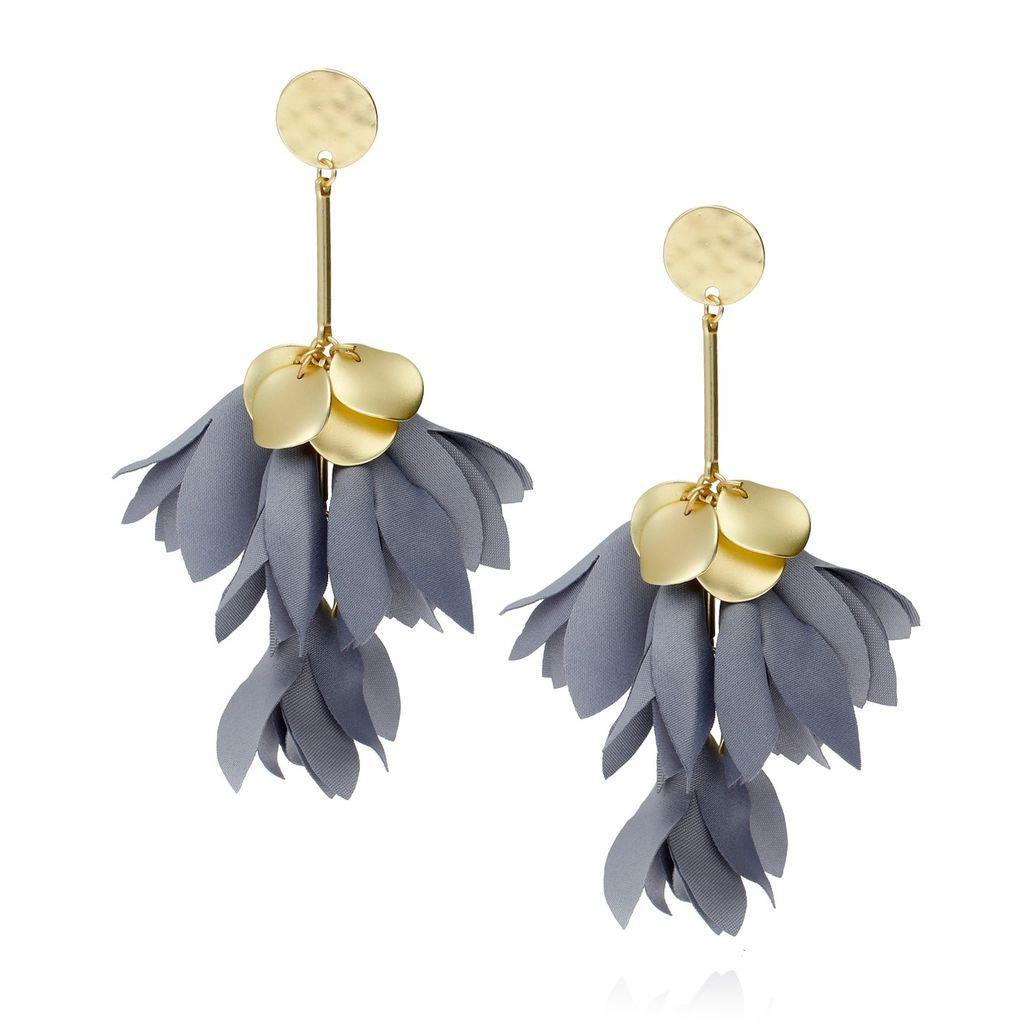 Kolczyki satynowe kwiaty - szaro-niebieski Blossom KBL0202
