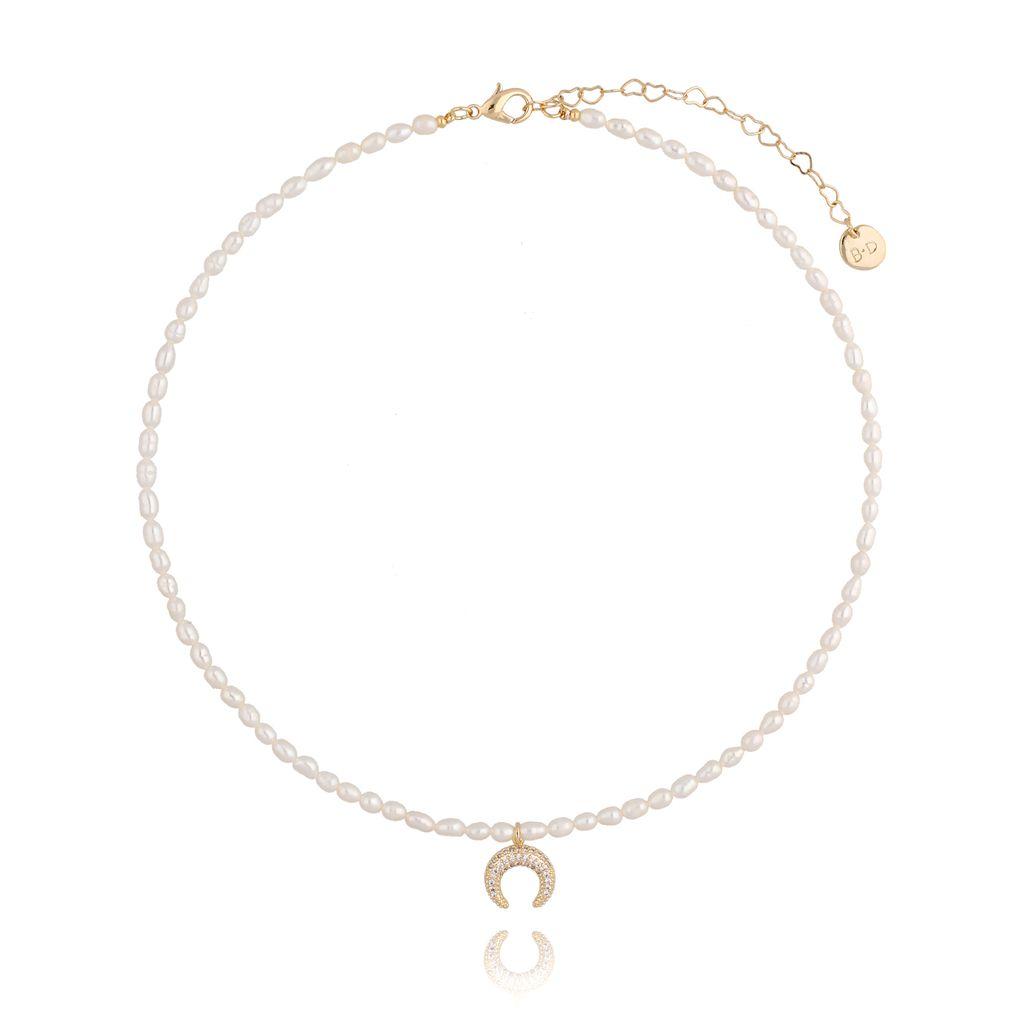 Naszyjnik perłowy z księżycem NPA0058
