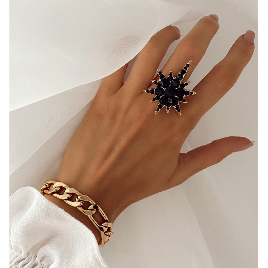 Pierścionek złoty z czarną gwiazdą PU0008