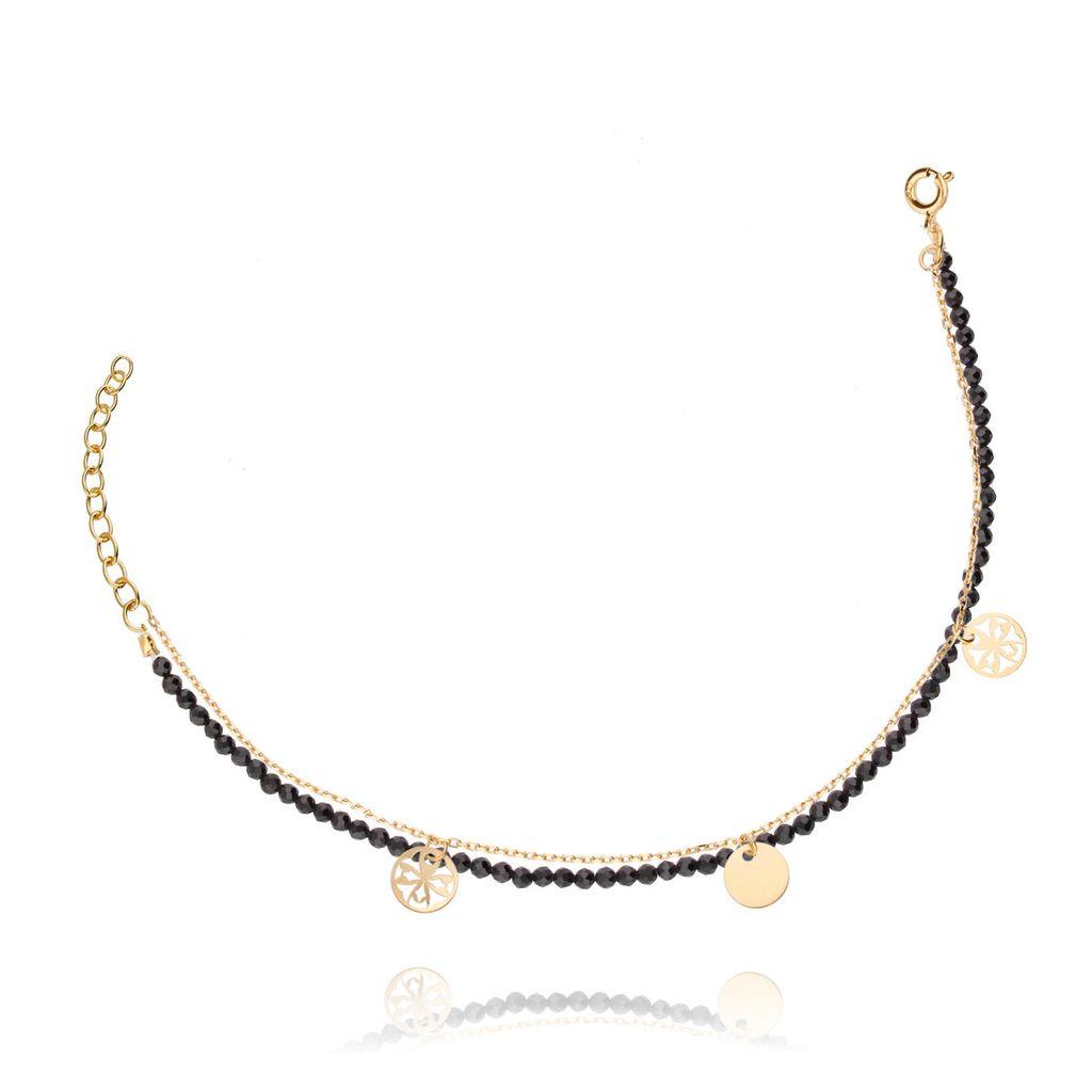 Bransoletka srebrna z kryształkami pozłacana BSE0037