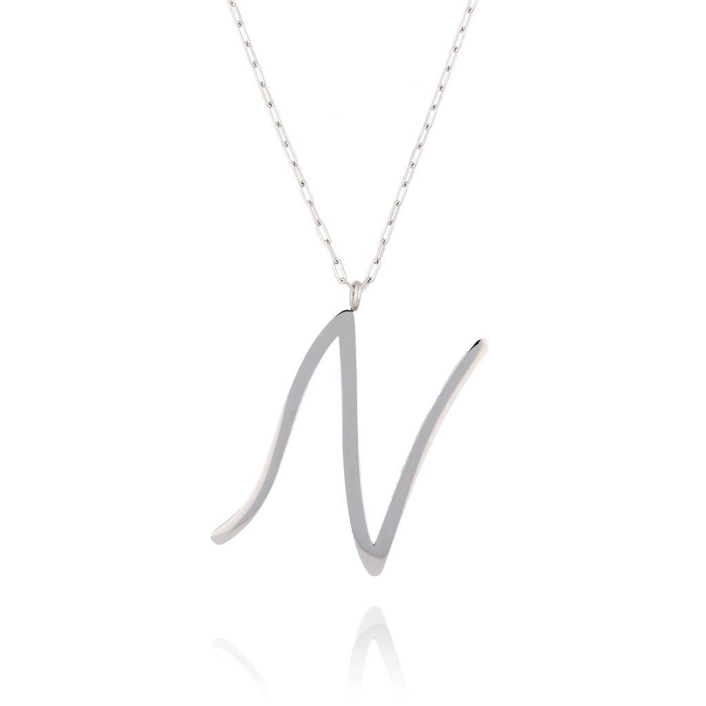 Naszyjnik ze stali szlachetnej srebrny literka N Alphabet NAT0011