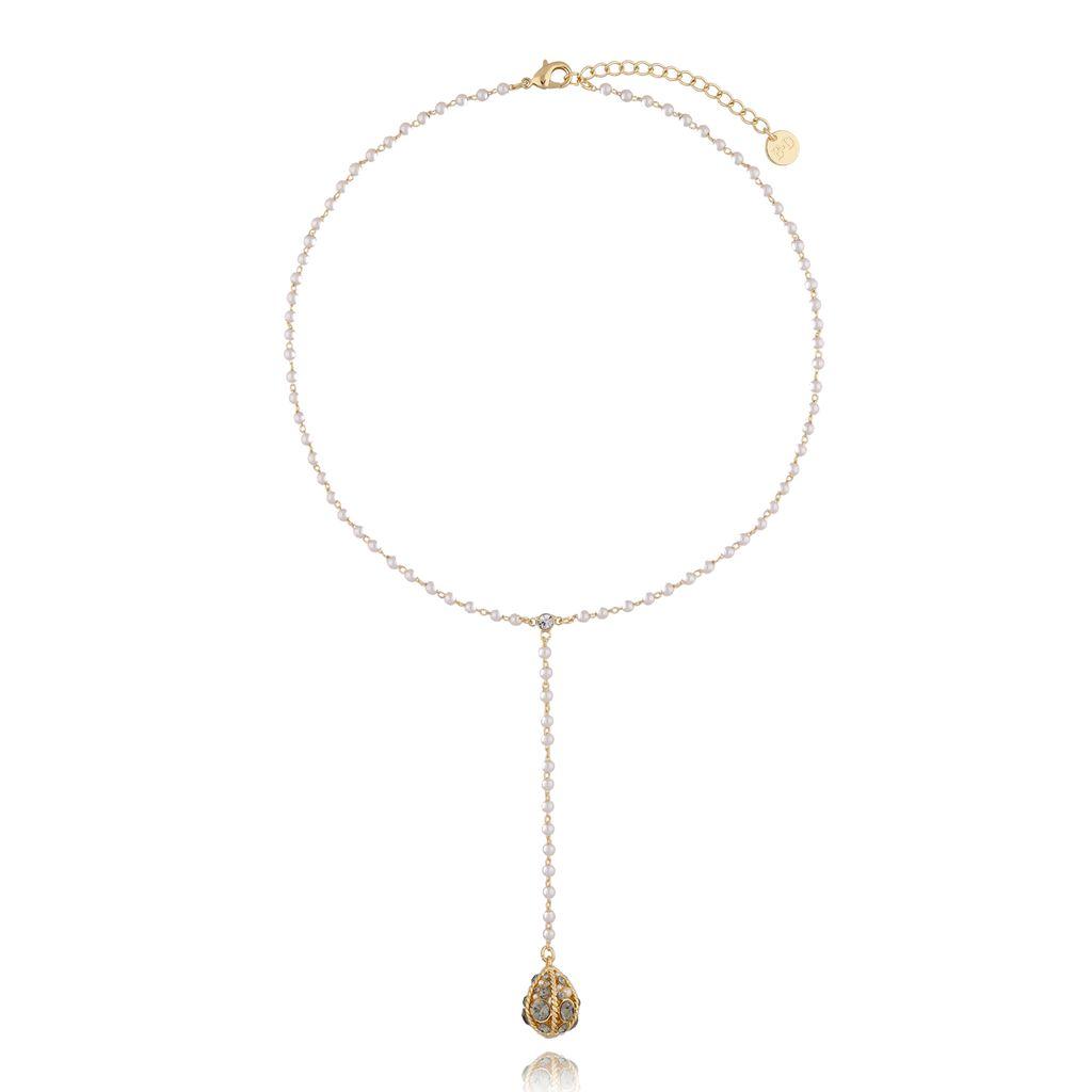 """Naszyjnik z jajkiem """"Faberge"""" z perełkami NRG0301"""