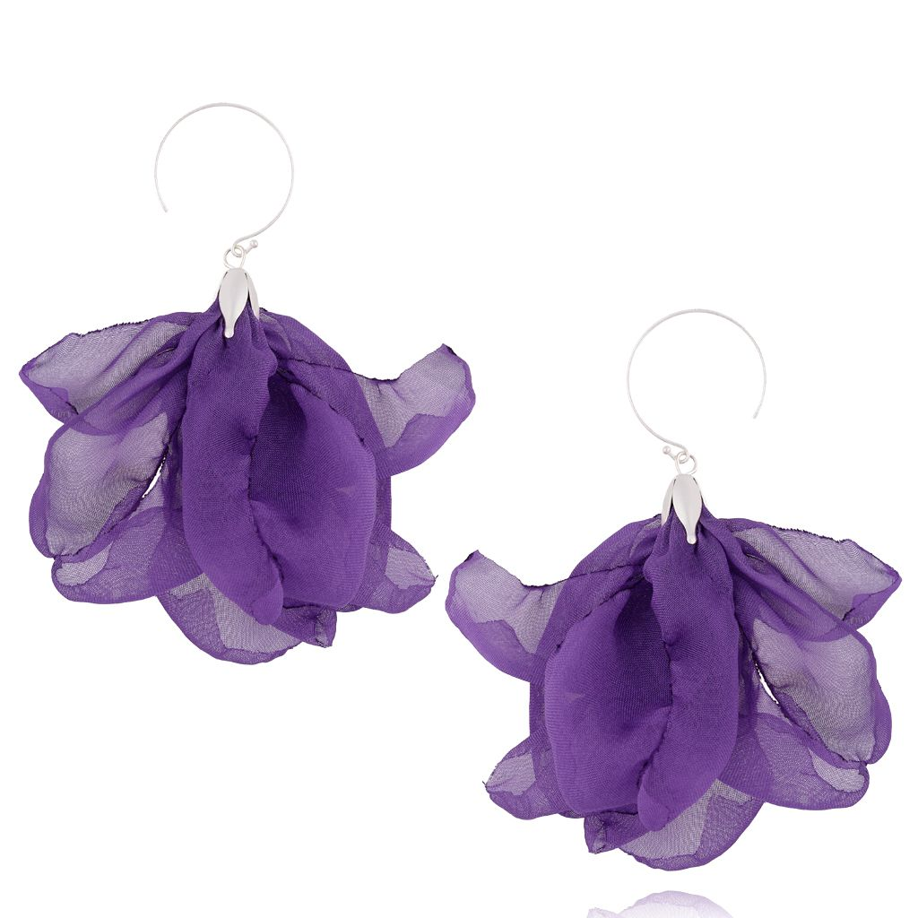 Kolczyki jedwabne kwiaty fioletowe KBL0406