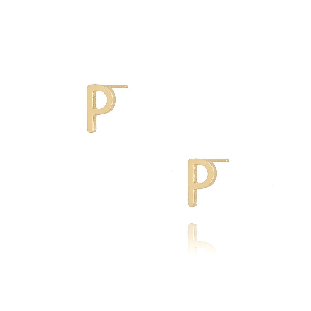 Kolczyki wkrętki z literką P złote KAT0023