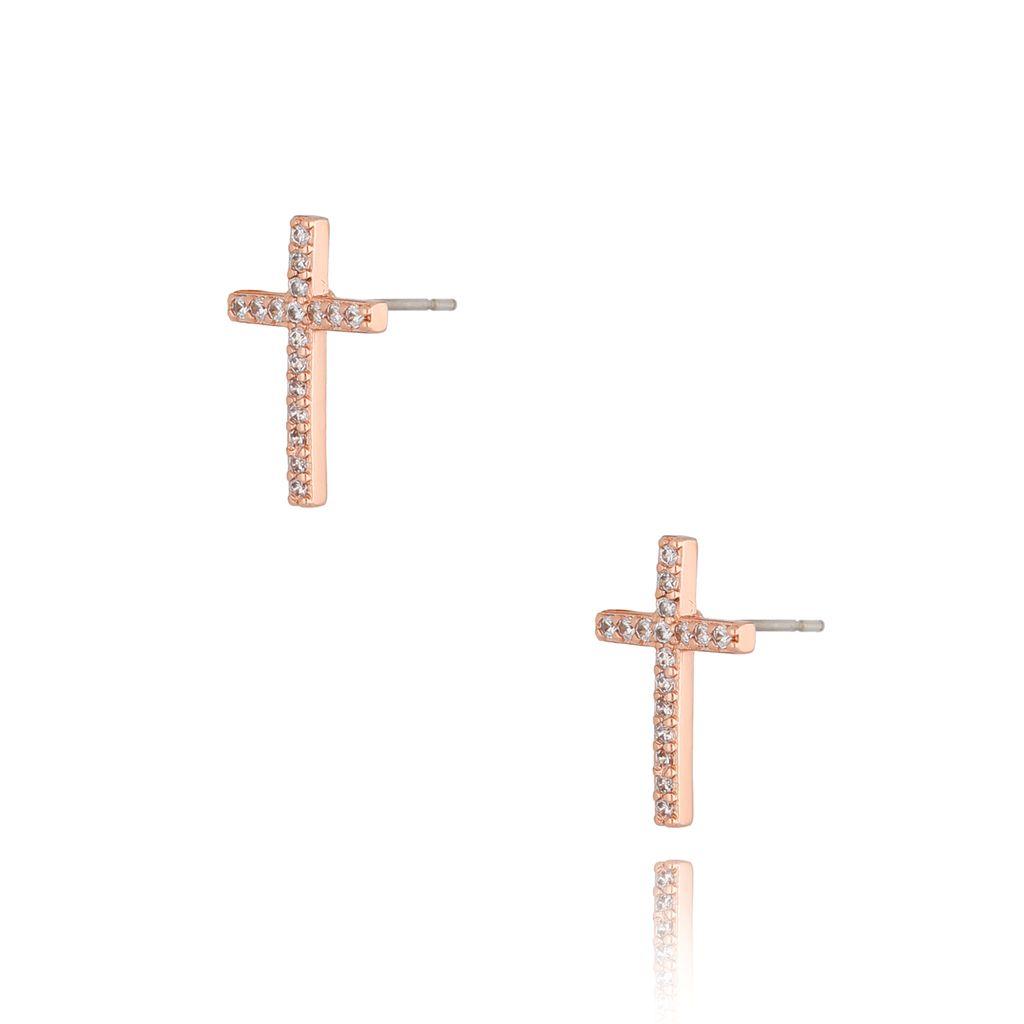 Kolczyki różowe złoto z transparentnymi cyrkoniami KRG0703
