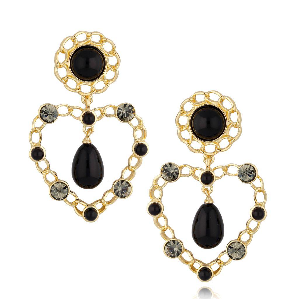 Kolczyki złote serca z czarnymi perłami KPE0047