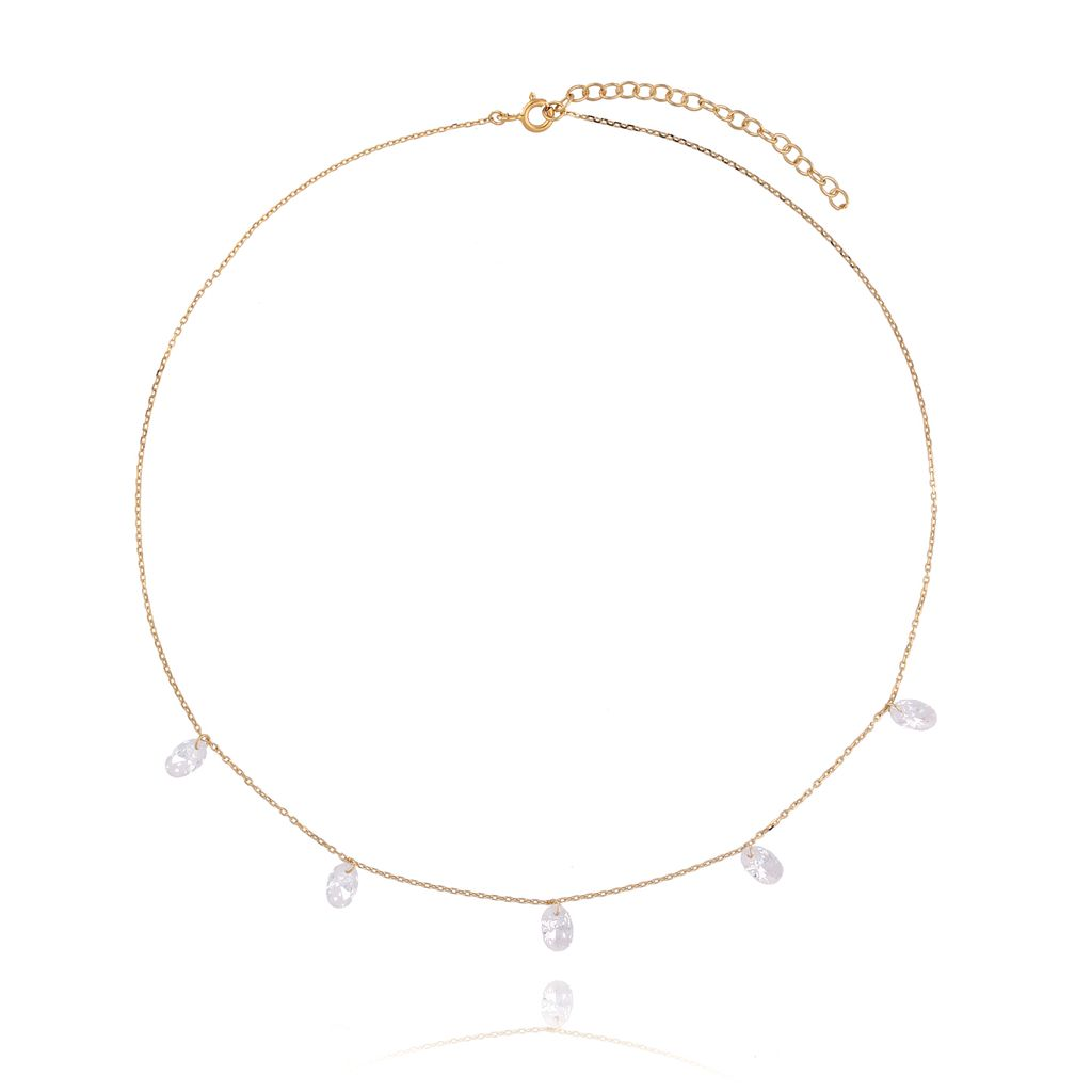 Naszyjnik srebrny pozłacany z kryształkami NSE0091