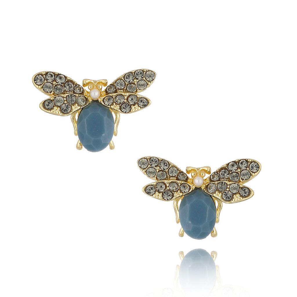 Kolczyki z owadami niebieskie morskie KMI0146