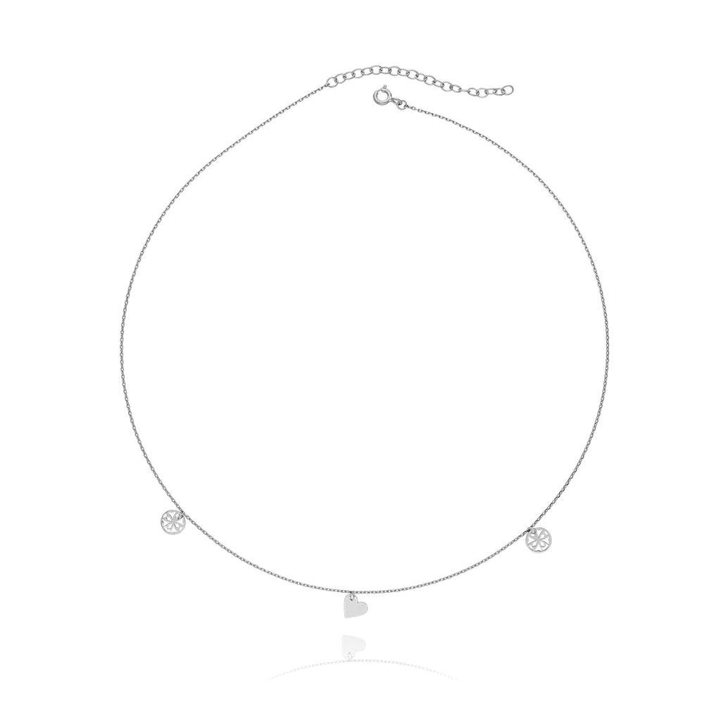 Naszyjnik srebrny z sercem i rozetką  NSE0013