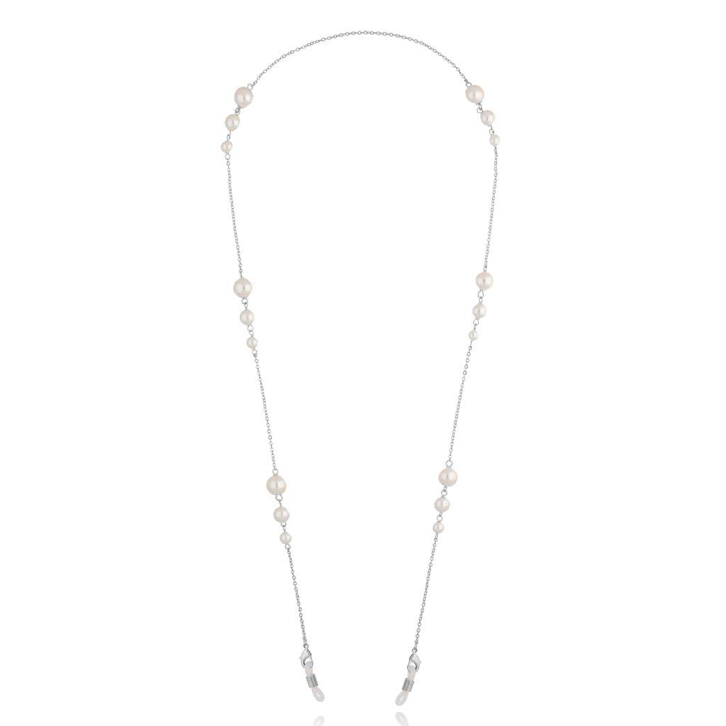 Łańcuszek do okularów z perłami srebrny NRG0328