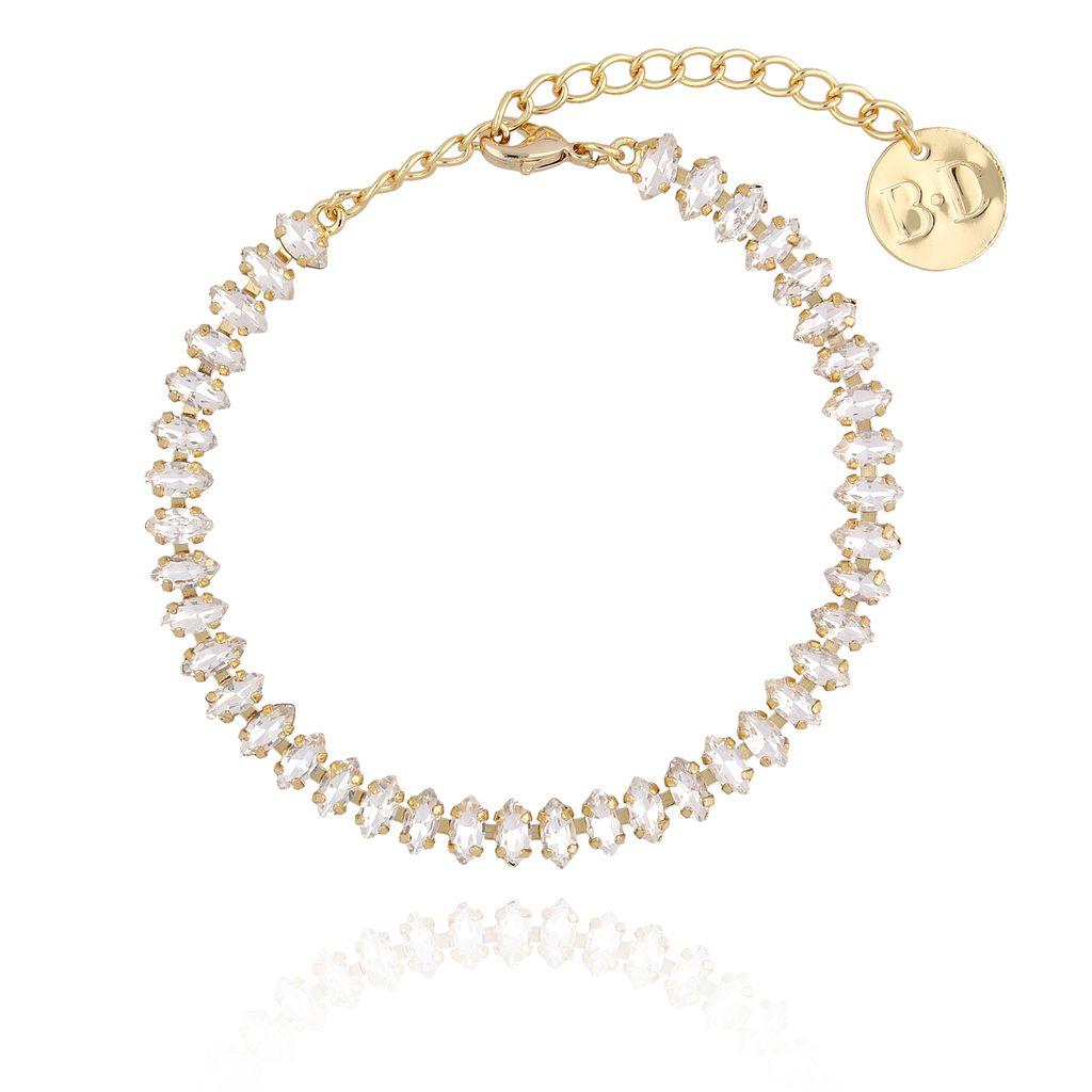 Bransoletka złota ze srebrnymi kryształkami BSS0019