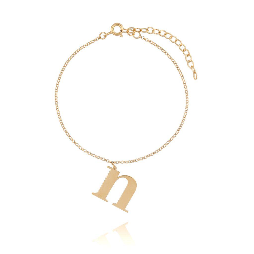 Bransoletka srebrna pozłacana z literką N BAT0046