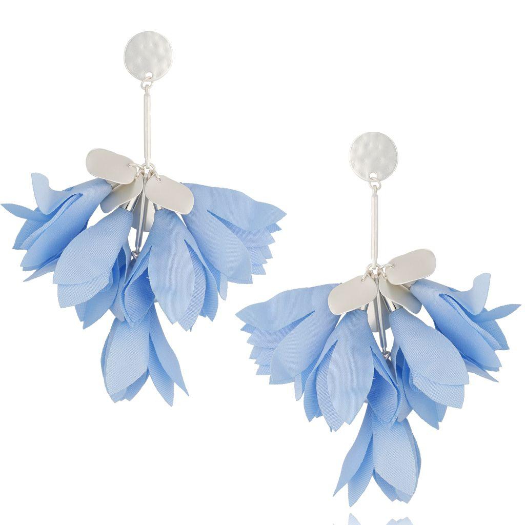 Kolczyki satynowe kwiaty błękitne KBL0527