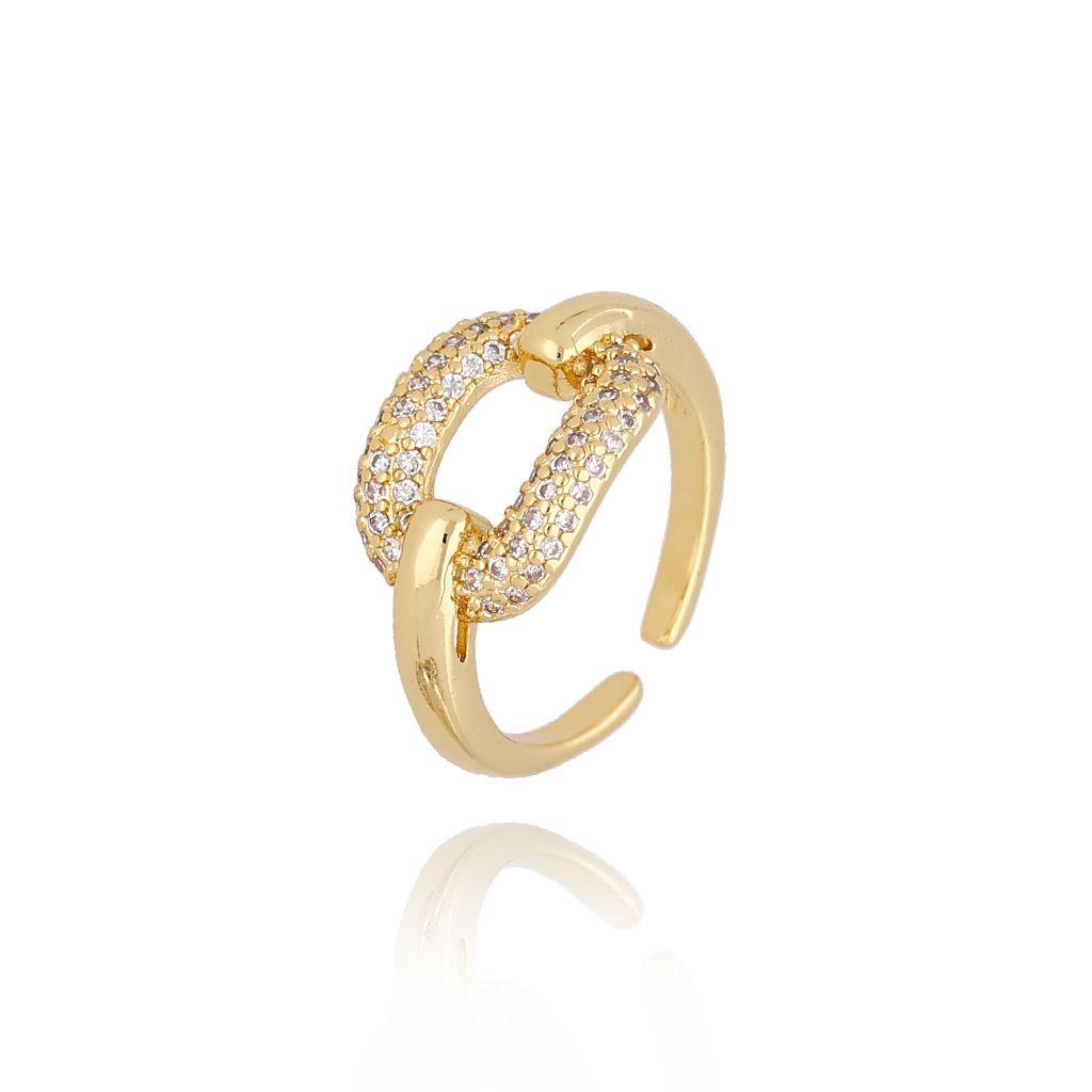 Pierścionek złoty z cyrkoniami PRG0156